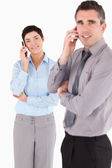 Portrait of a managers making a phone call — Stock Photo