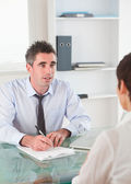 Portrait of a manager interviewing an applicant — Stock Photo