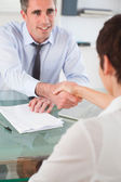 Portrait of a manager and an applicant having a handshake — Stock Photo