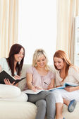 Young charming women studying together — Foto Stock