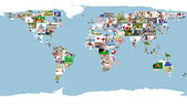 Leisure images forming world map — Stock Photo