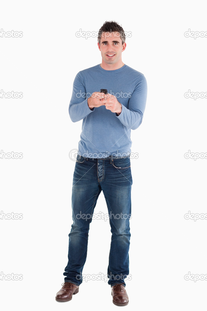 Man sending text messages against a white background — Stock Photo #11188077