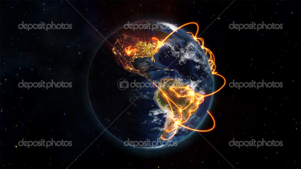 An illustrated picture of the connected world with an Earth image courtesy of Nasa.org — Stock Photo #11189903