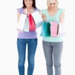 Cute women with shopping bags — Stock Photo