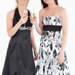 Young women in beautiful dresses with champaign — Stock Photo #11190417