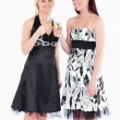 Smiling women in beautiful dresses toasting with champaign — Stock Photo #11190419