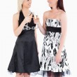 Cheerful women in beautiful dresses toasting with champaign — Stock Photo #11190421