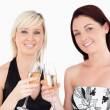 Cute women in beautiful dresses toasting with champaign — Stock Photo