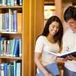 Students looking at a book - Stock Photo