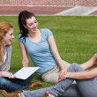 Stock Photo: Happy students sitting together
