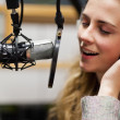 Close up of a singer recording a track — Stock Photo #11192633