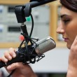 Close up of cute singer recording track — Stockfoto #11192648