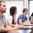 Studious young adults listening a lecturer — Stockfoto