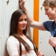 Student couple flirting — Stock fotografie