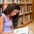 Stock Photo: Portrait of student reading book