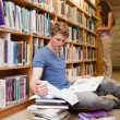 Stock Photo: Portrait of a male student making research while his classmate i