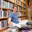 Portrait of a student doing research while his classmate is read - Stockfoto