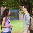 Foto Stock: Charming students flirting