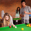 Portrait of friends playing snooker — Stock Photo #11194260