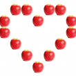 Red apples shaping a heart — Foto Stock