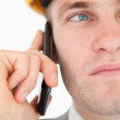 Close up of a young architect making a phone call — Stock Photo #11196378