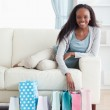 Woman happy about her shopping — Stock Photo