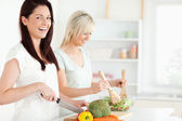Laughing Women preparing dinner — Stock Photo