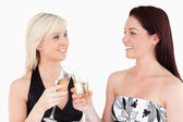 Gorgeous women in beautiful dresses toasting with champaign — Stock Photo
