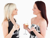 Gorgeous well-dressed women drinking champaign — Stock Photo