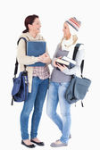 Two cute students prepared for the winter — Stock Photo