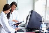 Femmes scientifiques comparant les résultats — Photo
