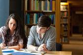 студенты, написание эссе — Стоковое фото