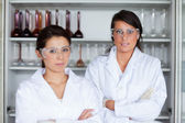 Serious female science students posing — Stock Photo