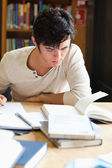 Porträtt av en seriös student som skriver en uppsats — Stockfoto