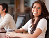 Happy woman having a coffee — Stock Photo