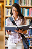 Portrait of a cute young student reading a book — Stock Photo
