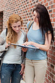 Portrait of a student showing something to her classmate — Stock Photo