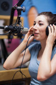 Portrait of a radio host speaking — Stock Photo
