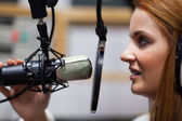 Radio host speaking — Stock Photo