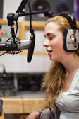 Portrait of a singer recording a track — Stock Photo