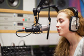Singer recording a track — Stock Photo