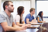 Studious young adults listening a lecturer — Stock Photo