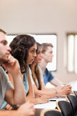 Portrait of students listening a lecturer — Stock Photo
