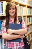 构成一个微笑着女学生的肖像 — 图库照片