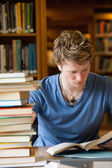 Portrait of a male student reading — Stock Photo