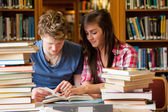 Serious students looking at a book — Stock Photo