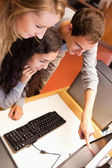 Portrait of a fellowstudents using a computer — Stock Photo