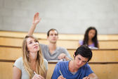 Students taking notes while their classmate is raising his hand — Stock Photo