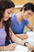 Portrait of students writing — Stock Photo