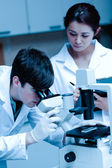 Portrait of a young scientist looking in a microscope while another is taking notes — Stock Photo